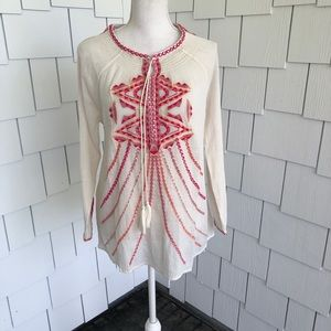 Sundance White with Pink Embroidery Tunic Top